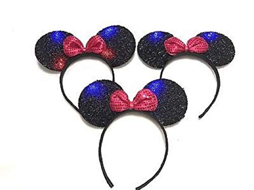 The Electric Mammoth Set of 3 Light Up LED Flashing Mouse Head Ears Headband Costume -