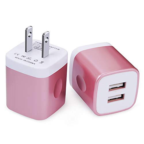 USB Wall Charger, FiveBox 2PC Dual Port 2.1A Wall Charger Adapter Charger Box Brick Charging Block Base Cube Compatible iPhone Xs Max/XR/X/8/7/6/6s, iPad, Samsung Galaxy S9 S8 Note 9 8, LG, Motorola