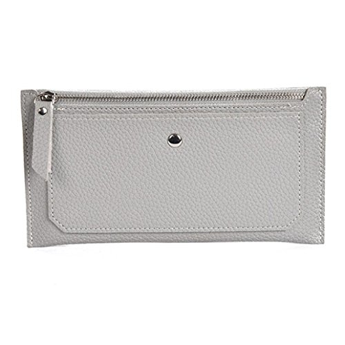 (Fashion Women Leather Handbag Messenger Bags Coin Bag Phone Bag, LLguz Ladies Lightweight Fashionable Small Wallet Card Package (Gray))