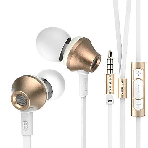 Remax - RM-610D - Stylish Metal In-Ear Earbud Stereo Headphones / Earphones with Built-In Microphone & Multi Control Buttons, Tangle Free Flat Cable Design - Great Sound Quality (Gold)