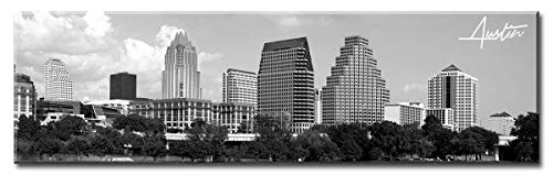 DJSYLIFE Austin Skyline Wall Art - Black and White Stretched Canvas Art Prints - Wall Decoration Painting for Bedroom or Office - Ready to Hang 13.8