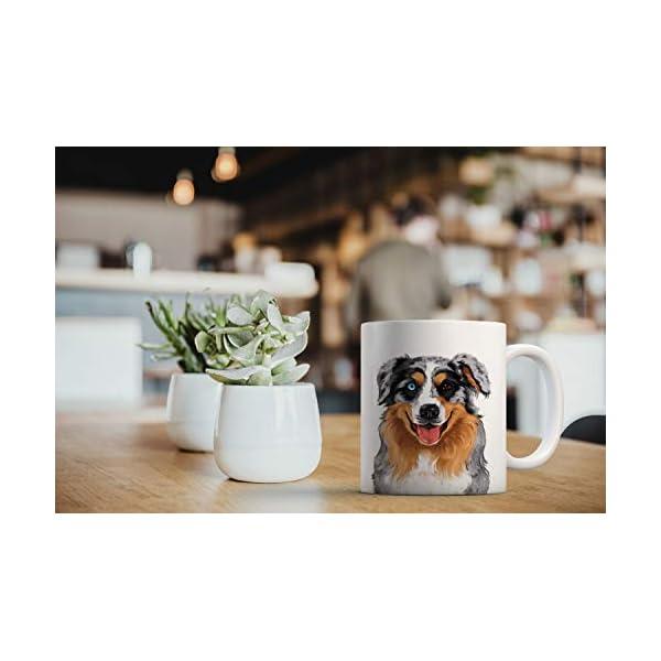 MUGBREW Cute Merle Aussie Australian Shepherd Dog Full Portrait Ceramic Coffee Gift Mug Tea Cup, 11 OZ 6
