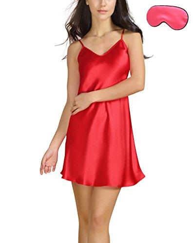 Bel Avril Donna Camicia da Notte, Pigiameria Semplice Raso delle Donne Taglie da S a XXXL Rosso