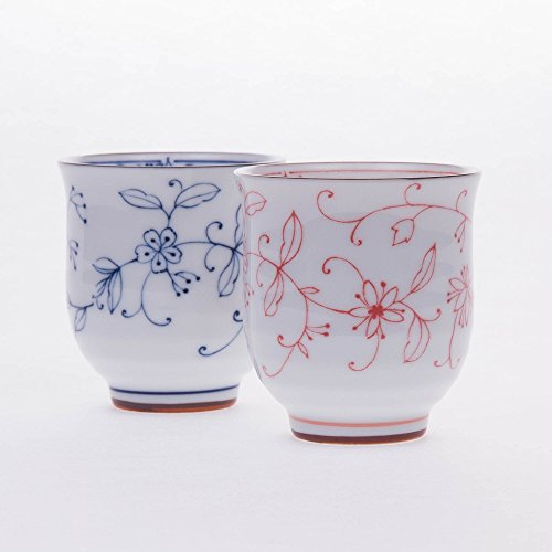 Japanese red and blue tea cup set beautiful flowers for Cool tea cup designs