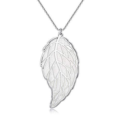 Blinkingstare Women Long Leaf Pendant Necklace Natural Charm Leaf Real Necklace Filigree White Gold Leaf Necklace 5/8' No Leaf Pendant