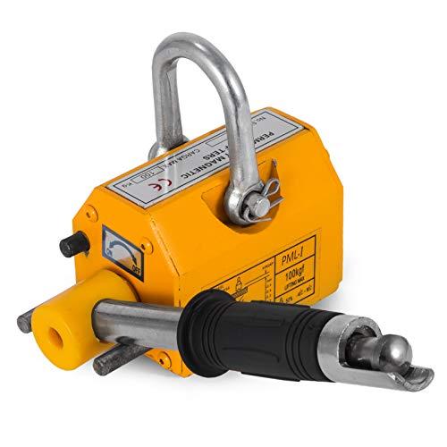Mophorn Steel Magnetic Lifter 100KG Metal Lifting Magnet 220 LB Magnetic Lift Hoist Shop Crane for Heavy Duty