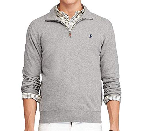 (Polo Ralph Lauren Men's Half Zip French Rib Cotton Sweater (X-Large, Grey Heather/Navy Pony))