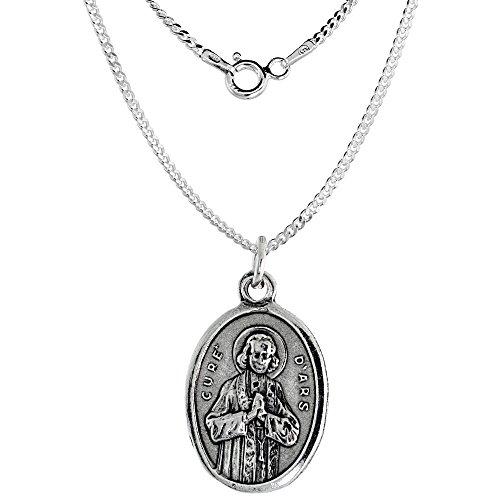 sterling-silver-st-john-vianney-medal-medal-necklace-oval-22-inch