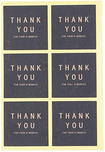 LeBeila Adhesive Thank You Stickers - Design Printed Labels 120 Pcs Party Favors Tags for Celebrating, Wedding, Birthday & Business Personalized Handmade Gift Seal Decor (120 Packs, Black-Square)