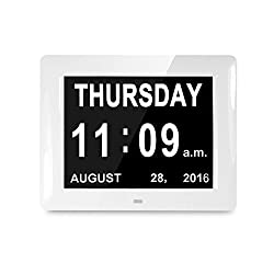 AMZTOLIFE Newest Alarms Clock Mid or Low Auto Dimmable Display Memory Loss Day Clock Digital Calendar - Extra Large Non-Abbreviated Day & Month for Mother from Son & Daughter on Mother