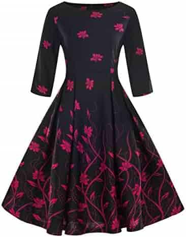 9571278560c0 Wellwits Women's Boat Neck 3/4 Sleeve Pocket Casual 1950s Vintage Swing  Dress