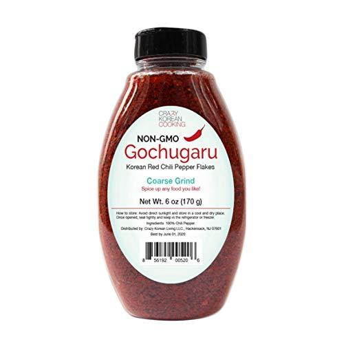 (Non-GMO Gochugaru, Korean Red Pepper Powder Flakes, Coarse Grind 6 OZ)