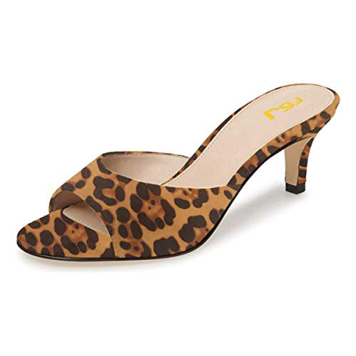 Peep Toe Slide - FSJ Women Comfort Low Heel Mules Peep Toe Slide Sandals Slip On Dress Pump Shoes Size 10 Leopard Suede-6cm