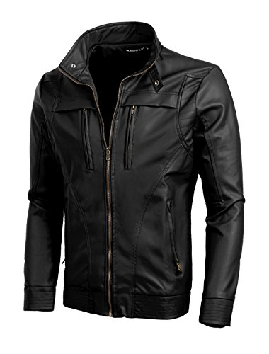 Allegra K Men Stand Collar Zipper Closure Imitation Leather Motorcycle Jacket Small Black Collar Slim Zipper Closure
