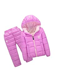 lifepot Kids Down Jacket Set 2 Piece Hooded Snowsuit with Ski Pants