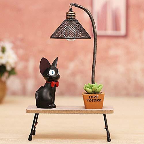 GAOYIZI Night Light Miyazaki Hayao Creative Resin Jiji The Black Cat lamp Ornaments Exquisite Best Xmas Gift,C ()