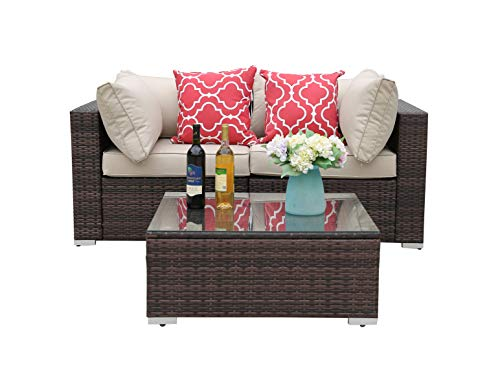Do4U 3-12 Pieces Set Outdoor Patio Furniture Sectional Conversation Set,All-Weather Wicker Rattan Sofa Seat & Back Cushions (8365-MIX-3 Pieces) ()