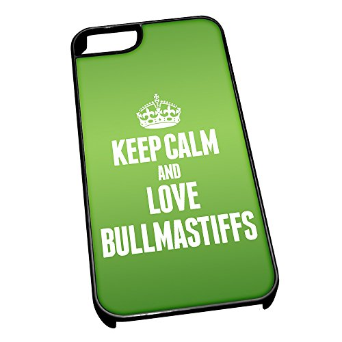 Nero cover per iPhone 5/5S 1990 verde Keep Calm and Love Bullmastiffs