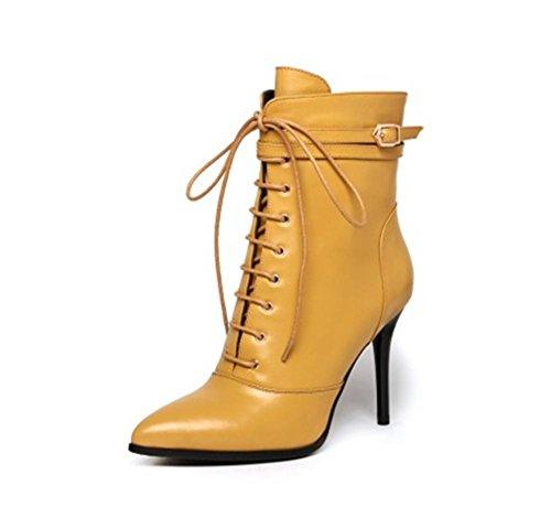 Otoño Yellow Negro Cuero Apuntado Invierno 6 Eur 6 5 uk Botas Mujeres eur40uk7 Nvxie Martin Stiletto 39 Tobillo Talón Fiesta 4pgznwqB