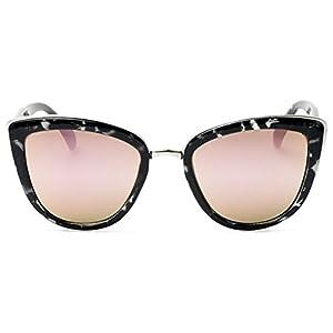 Quay My Girl Sunglasses Cat Eye Frame Kitty Metallic Aviator (Black Tortoise w/ Pink Mirror)