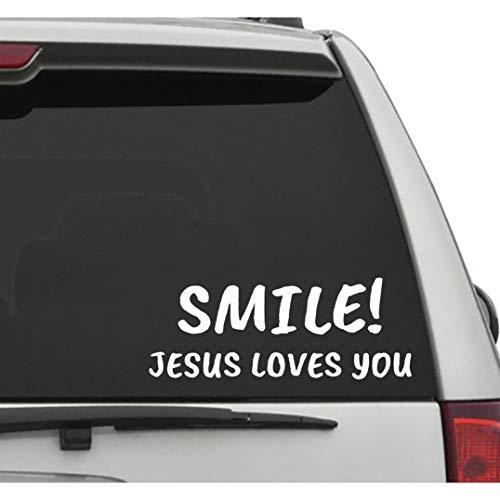 Seek Racing Smile Jesus Loves You Vehicle Decal CAR Truck Window Bumper Sticker GOD Jesus Religion
