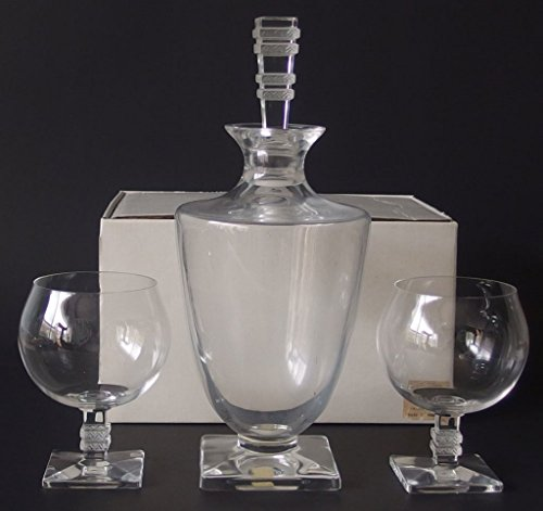 - LALIQUE CRYSTAL BEAUGENCY DECANTER & 2 GLASSES