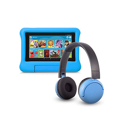 Fire 7 Kids Edition Tablet (16 GB, Blue Kid-Proof Case) + BuddyPhones Headset, Pop Time in Blue (Ages 8-15)