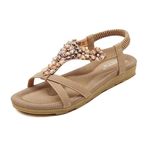 ZycShang Women Sandals Fashion Sweet Beaded Toe Flats Bohemian Shoes Size 5.5-10 Khaki Q6sTTc