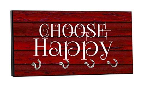 Choose Happy - On Red Wood Print - 5