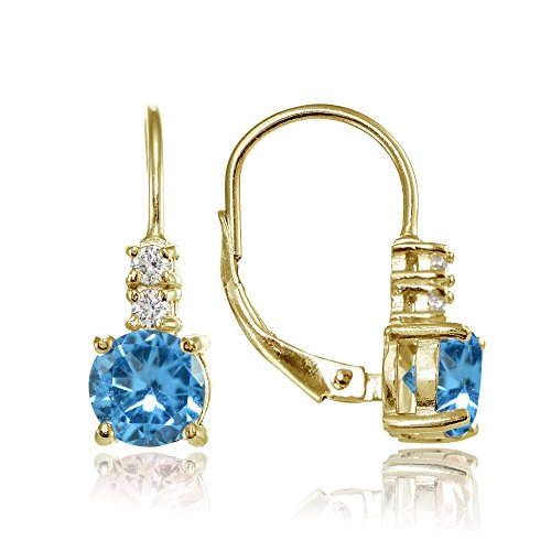 - Yellow Gold Flashed Sterling Silver Simulated Blue Topaz 6mm Round and CZ Accents Leverback Earrings