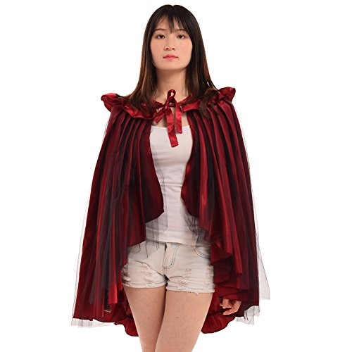 BLESSUME Punk Flounce Bustle Skirt Cape Red