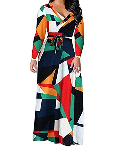 - Locryz Women's V Neck 3/4 Sleeve Digital Floral Printed Party Loose Long Maxi Dress with Belt S-3XL (L, Green)