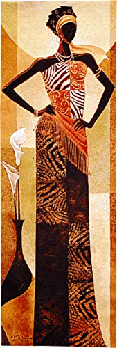 Amira by Keith Mallett | Woven Tapestry Wall Art Hanging | Elegant African Woman | 100% Cotton USA Size 48x16 ()