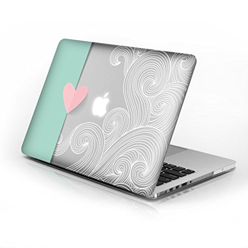 Rubberized Hard Case for Macbook Air 13 Inch model number A1369 and A1466, Lovely Heart design with clear bottom case, Come with Keyboard ()