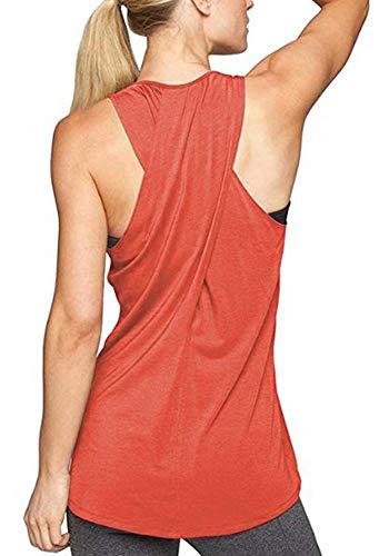 - Lofbaz Women's Loose Open Back Workout Tops Sexy Cross Back Long Flowy Active Yoga Hiking Shirt Sleeveless Sports Gym Running High Neck Tank Top - Orange - L