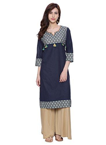 Avaana Blue Printed Cotton-Cambric Long Kurta, Medium, Blue