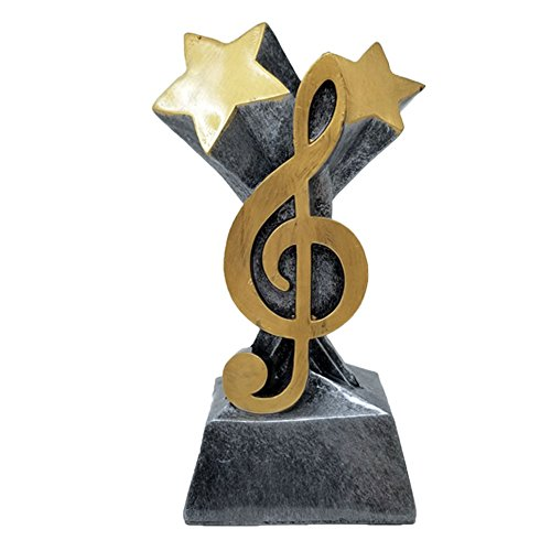 Decade Awards  G Clef Musical Note Trophy  Lyrical Band Award | 5.75 Inch Tall - Free Engraved Plate on Request - Award Cast Plaque