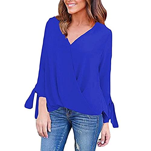 Auxo Mujer Camiseta Mangas Largas Camisas V Cuello Blusa Elegante Casual Ocasionales Royal ES 44/ASIA2 XL