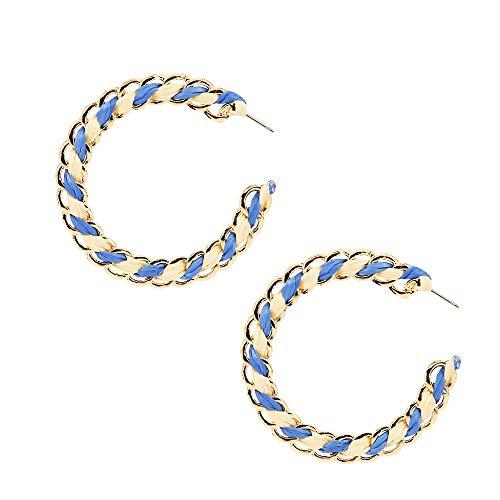 Blue Raffia Hoop Earrings Statement Drop Earrings Boho Dangle Geometric Earrings Rose Gold Earrings for Women Girl Gift Jewelry