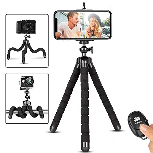 Phone Tripod, Flexible iPhone Tripod and Portable Adjustable Tripod with Wireless Remote and Universal Clip Mount Camera…