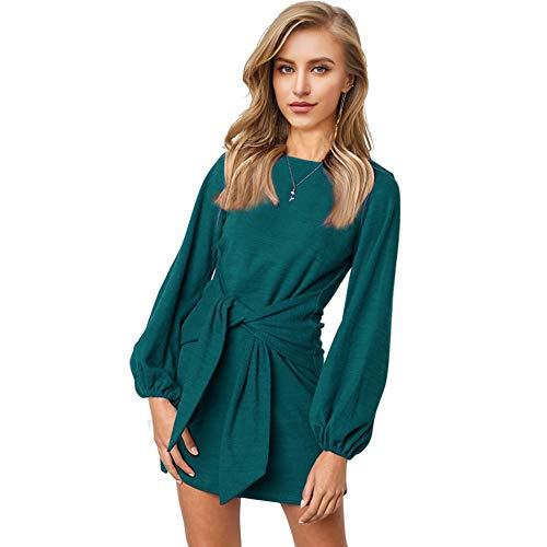 Longwu Women's Loose Casual Front Tie Long Sleeve Bandage Party Dress Dark Green-XL