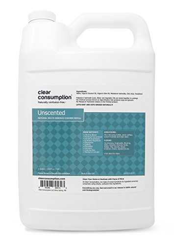1 Gallon Unscented Clear Consumption Natural Multi-Surface Cleaner Refill - Made from USDA Organic Vegetable Oils by Clear Consumption