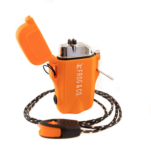 Tough Tesla Lighter 2.0 - Outdoor Waterproof Windproof Top-Facing Dual Arc Plasma USB Electric w/Built-in Flashlight, Paratinder Lanyard & Emergency Whistle by Frog & Co. (Orange)
