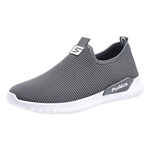 OrchidAmor Women Ladies Casual Loafers Sneakers Flats Breathable Stretch Cloth Shoes 2019 Summer Grey