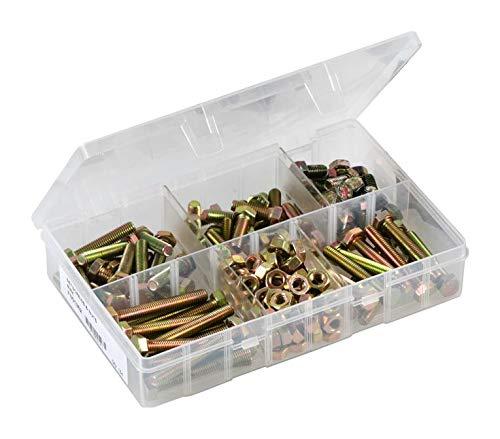 D01614 - Set Screw & Nut Set, Brass, Zinc Passivated, M8 x 16mm - 60mm, 154 Pieces (Pack of 2)