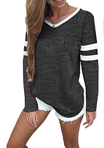 56bed9905 MISSLOOK Women's Color Block Shirts Baseball Tees Short Sleeve Striped  Tunics Blouses Tops