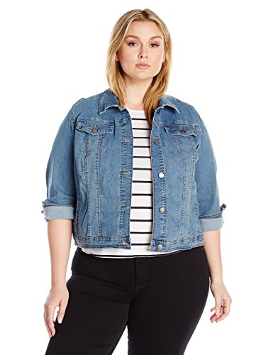 Riders by Lee Indigo Women's Plus Size Denim Jacket, Light Wash, 3X ()