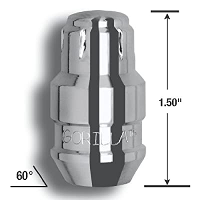 Gorilla Automotive 61631N Chrome Acorn Gorilla Guard II Wheel Locks - Set of 4 (12mm x 1.50 Thread Size): Automotive