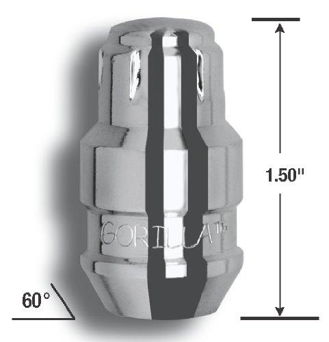 Set of 4 Gorilla Automotive 61621N Chrome Acorn Gorilla Guard II Wheel Locks 12mm x 1.25 Thread Size