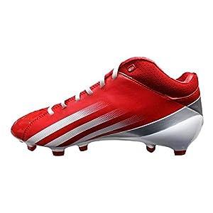 adidas Men's Adizero 5-Star Mid Football Cleats (10.5, Unired/Running White/Metallic Silver)